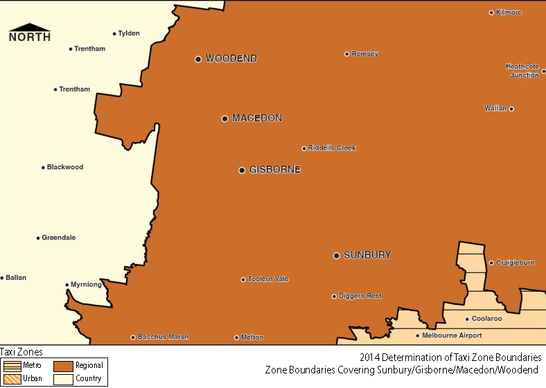 Regional Zone Map - Sunbury-Gisborne-Macedon-Woodend