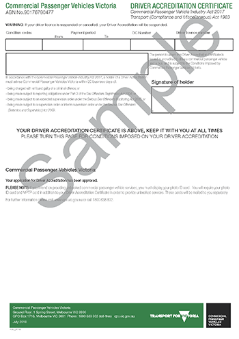 Driver accreditation certificate - page one, sample only